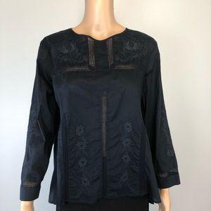 J crew navy 100% cotton blouse top